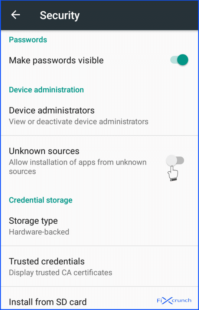 Unknown sources on android settings